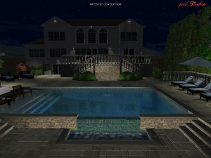 Nightime 3D Backyard Rendering