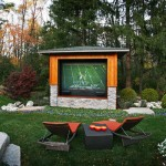 Contemporary landscape and outdoor TV area