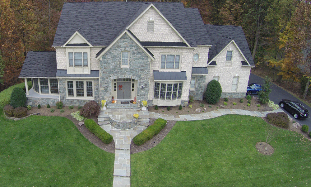 Overhead Aerial Photos of Flagstone Walkway Construction in Oakton VA
